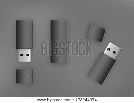 USB 3.0 black pen drive flash disk. Vector illustration top view
