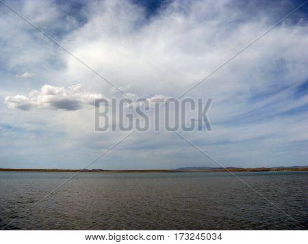 Deserted Beach Lake, Summer Sky, Nature, Blue Cloud,
