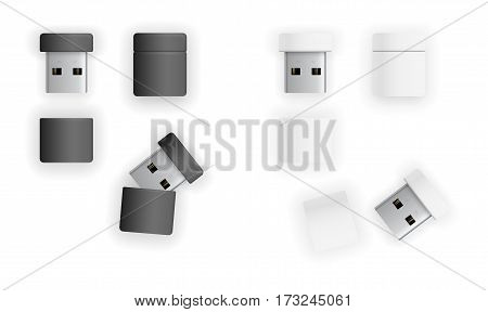 USB thumb size flash drive or transceiver for wireless devices. Vector illustration top view