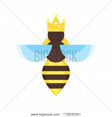 Vector flat style illustration of queen bee. Icon for web. Isolated on white background.