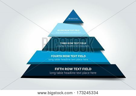 3d triangle infographic, chart, scheme, diagram, table, schedule, element. Vector.
