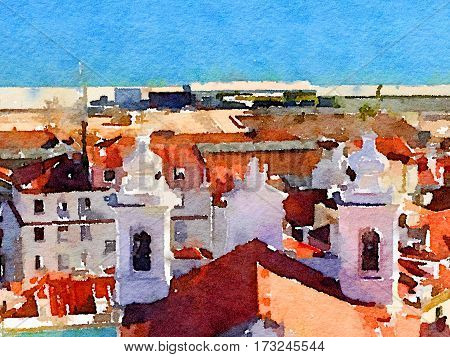 Digital watercolor painting of a cityscape with colorful orange rooftops church towers and the river in Lisbon Portugal with space for text.