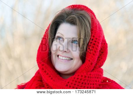 Portrait of a Russian beautiful woman in winter