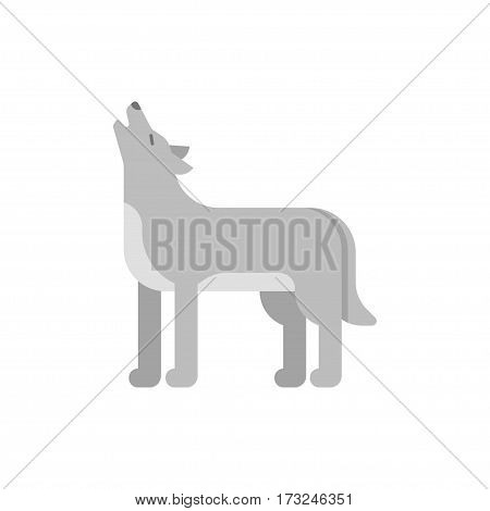 Vector flat style illustration of wolf. Icon for web. Isolated on white background