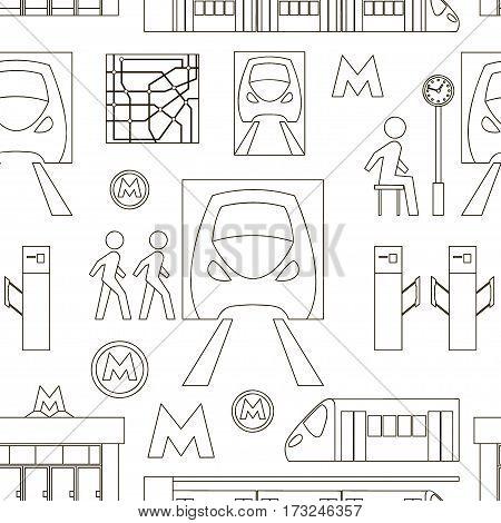 Metro underground symbols transportation concept set pattern. Vector illustration, EPS 10