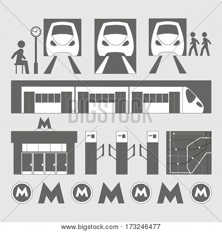 Metro underground symbols transportation concept set. Vector illustration, EPS 10