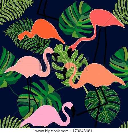 Seamless vector pattern with fantasy pink birds and palm leaves. Beach textile collection.