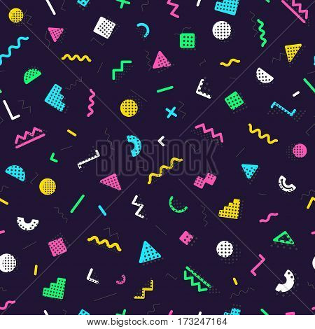 Memphis seamless pattern consisting of different color shapes on dark background. Trendy memphis style. Colorful geometric seamless pattern. Hipster memphis style. Vector Illustration