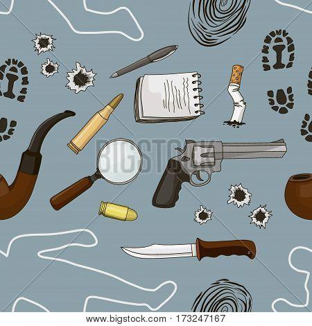 Vector detective crime icons set pattern. Vector illustration, EPS 10