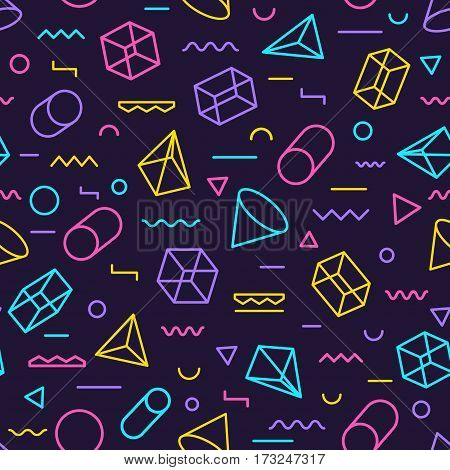 Geometric seamless pattern color style consisting of line geometric different shapes and lines. Colorful geometric seamless pattern. Hipster memphis style. Vector Illustration