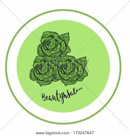 Elegant rose logo for beauty salon. Modern green. Scetch. Vector
