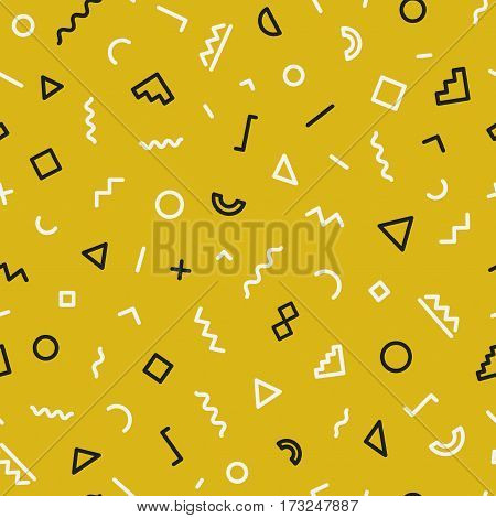 Memphis seamless pattern on gold background. Trendy memphis style. Geometric seamless pattern different shapes black and white color. Hipster memphis style. Vector Illustration