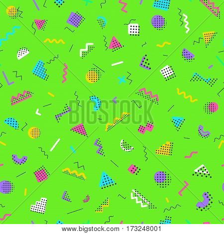 Geometric memphis seamless pattern consisting of different color shapes on green background. Trendy memphis style. Colorful geometric seamless pattern. Hipster memphis style. Vector Illustration