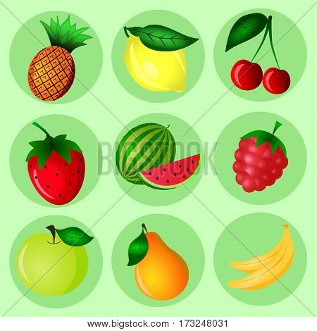 Hand Drawn color fruit set. Set of various colorful hand draw fruits. Doodle fruits. Fruits flat icons set.