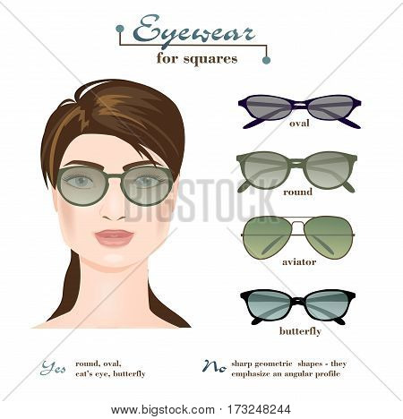 Womens glasses shapes for square face type. Four different eyewear. Vector illustration