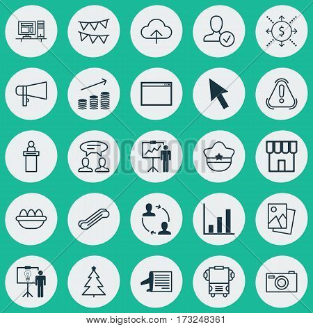 Set Of 25 Universal Editable Icons. Can Be Used For Web, Mobile And App Design. Includes Elements Such As Ovum, Bullhorn, Decorative Flags And More.