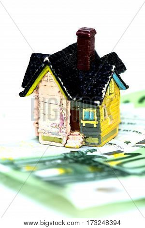 House and Euro money concept buy or rent