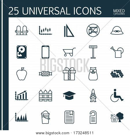 Set Of 25 Universal Editable Icons. Can Be Used For Web, Mobile And App Design. Includes Elements Such As Hdd, Hive Pattern, Price And More.