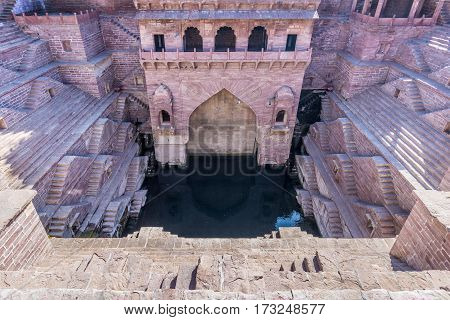 Step well details in Jodhpur Rajasthan. Ancient water supply in India.