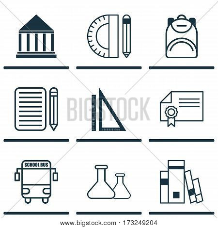 Set Of 9 School Icons. Includes Chemical, Measurement, Transport Vehicle And Other Symbols. Beautiful Design Elements.