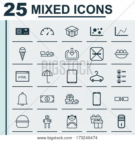 Set Of 25 Universal Editable Icons. Can Be Used For Web, Mobile And App Design. Includes Elements Such As Alert, Cyborg, Ovum And More.