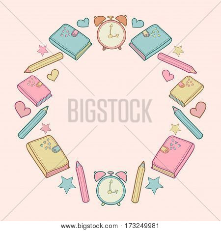 Vector cute school pattern frame with diary, alarm clock, colored pencils, bow, heart, star. Can be used for album cover, school notebook cover, school diary