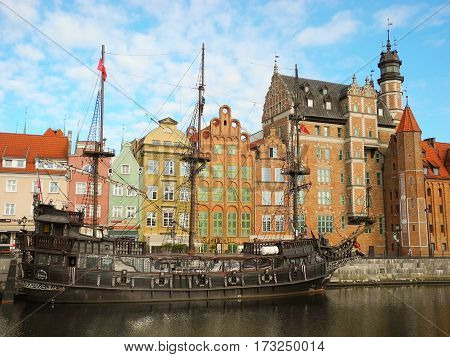 Gdansk Poland - 8 May 2015: Landscape architecture and river bank view of ancient port of Motlava at Gdansk city promenade riverside.