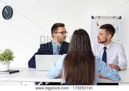 Job interview concept. HR managers interviewing woman