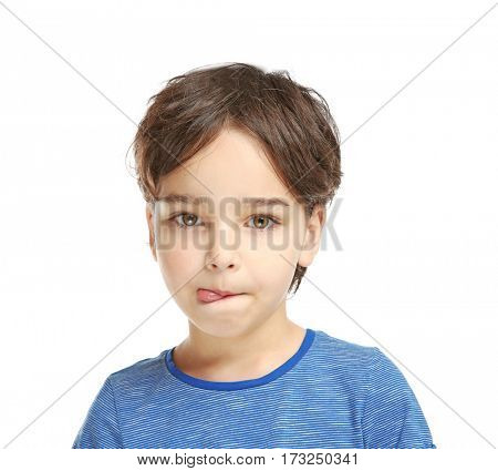 Little boy training pronounce letters    on white background
