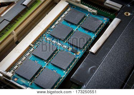 memory slot of the laptop closeup shot