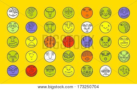 People face cartoon vector icons. Doodle avatar set. Big collection of people emotions for social activities. Linear art caricatures. Fun human characters. Different expression set.
