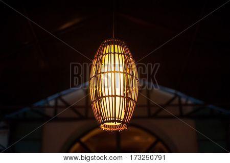 beautiful decorative lantern on a street at night.