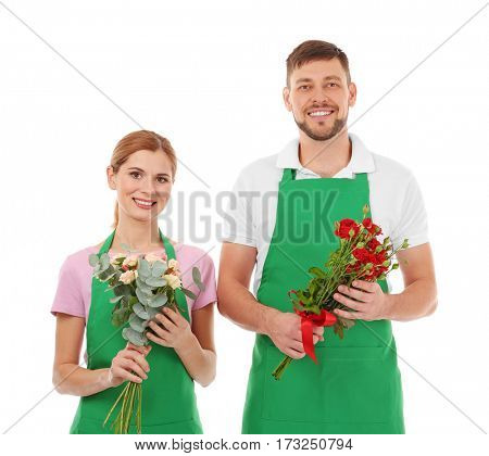 Two florists holding flower bouquets isolated on white background
