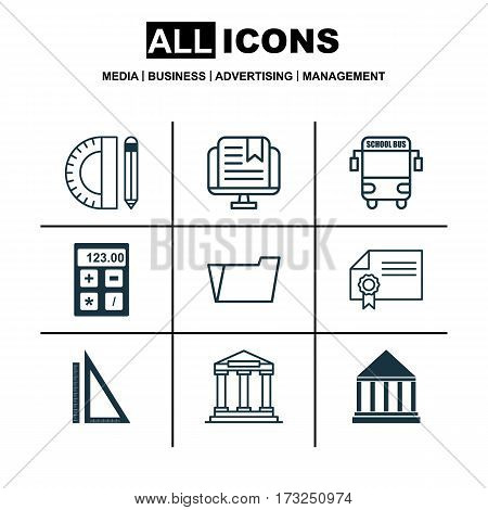 Set Of 9 Education Icons. Includes Document Case, Education Center, Measurement And Other Symbols. Beautiful Design Elements.