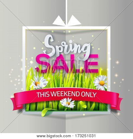 Spring sale banner with green grass and flowers in frame with red ribbon on paper background. Business banner with season offer. Vector illustration for spring sales, banners. Origami