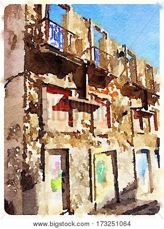 Digital watercolor painting of a derelict building in lisbon with balconies and missing doors. With space for text.