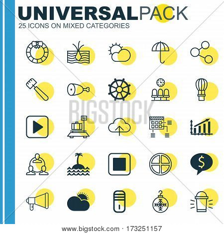 Set Of 25 Universal Editable Icons. Can Be Used For Web, Mobile And App Design. Includes Elements Such As Sunny Weather, Flight Basket, Garland.