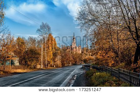 in early autumn the road to the Cathedral of St. Nicholas in Mozhaisk