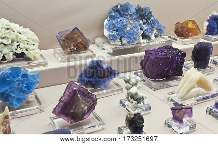 TUCSON, ARIZONA, FEBRUARY 12. The Tucson Convention Center on February 12, 2017, in Tucson, Arizona. A Jim Gebel Fluorite Collection at the Tucson Gem and Mineral Showin Tucson, Arizona.