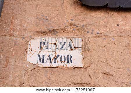 Plaque of main square of Siguenza Guadalajara province Castilla La Mancha Spain