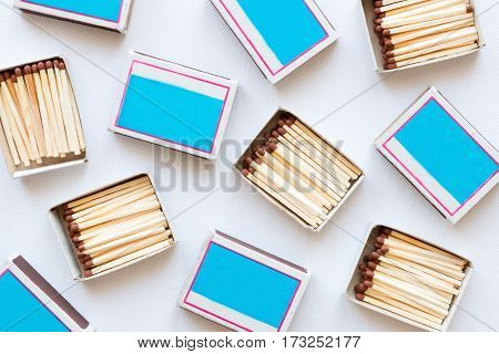 matchboxes on white background top view close up