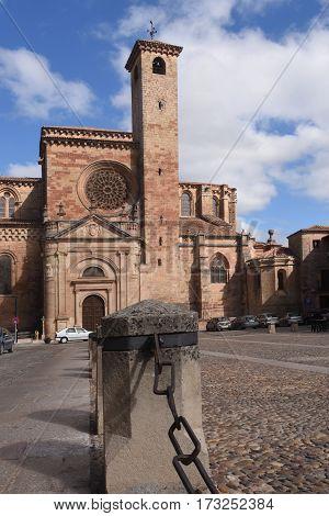 Cathedral and Main Square Siguenza Guadalajara province Castilla La Mancha Spain