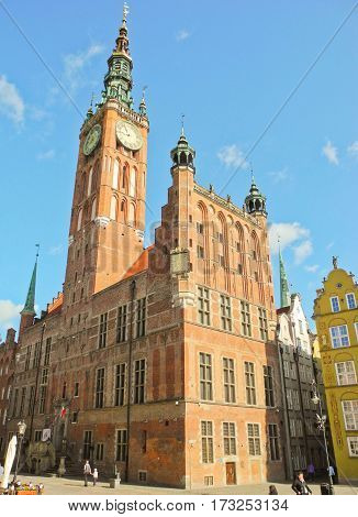Gdansk Poland - 8 May 2015: The building of the Town Hall of the Main City on Long market.