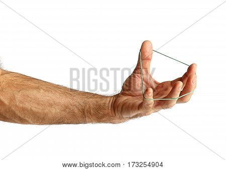Hand with a rubber band.On a white background
