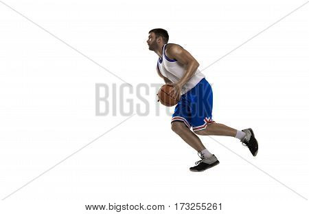 professional basketball player isolated on white with ball in white and blue form