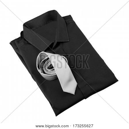 New man shirt with tie on white background
