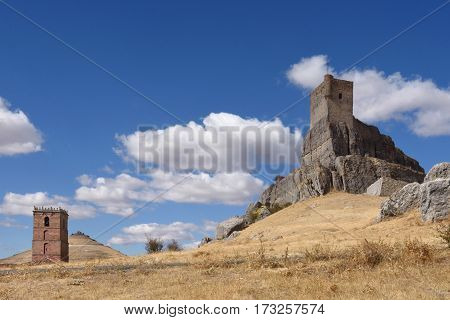 Homenaje tower of Castle Atienza medieval fortress of the twelfth century (Route of Cid and Don Quixote) Guadalajara province Castilla La Mancha Spain.