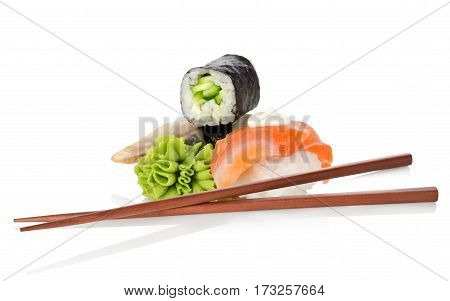Sushi and wasabi isolated on a white background