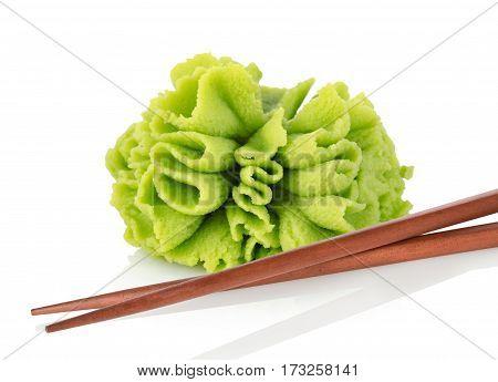 Wasabi seasoning isolated on a white background