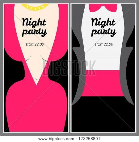 Retro party poster with woman in pink evening dress and man in tuxedo